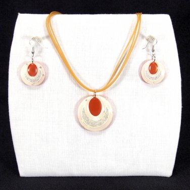 """3-pc Jewelry Set Necklace and Earrings with """"Ellipses"""" Design Pendants - Orange _09-1925O"""