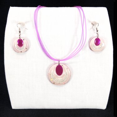 "3-pc Jewelry Set Necklace and Earrings with ""Ellipses"" Design Pendants - Pink _09-1925P"