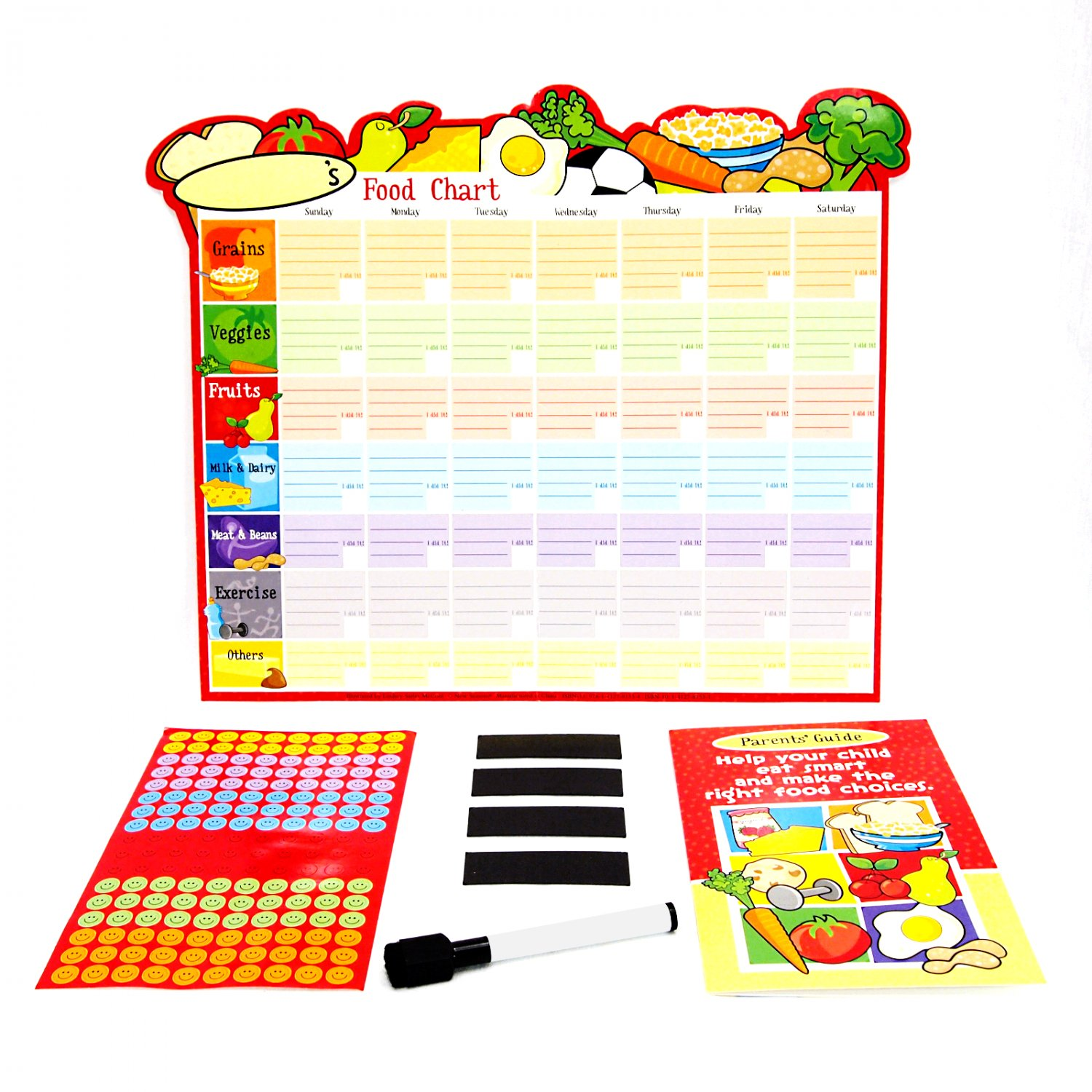 Kids Healthy Eating Reward Chart with Parents Guide, Dry Erase Pen, Smiley Stickers _272-01