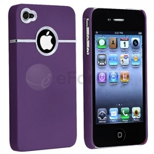 DELUXE PURPLE CASE COVER W/CHROME FOR Apple iPhone 4 4G 4S NEW Verizon AT&T Sprint