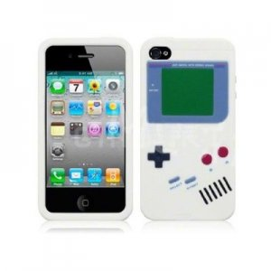 Nintendo Gameboy Silicone 3D Case cover for APPLE iPhone 4 4S White Verizon AT&T