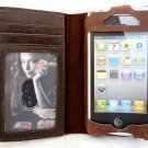 Luxury Brown Leather wallet Case for apple iPhone 4 4g 4S s