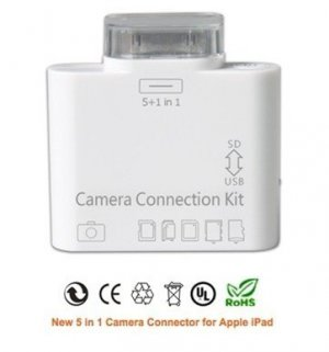 new usb 5 in 1 Card Reader adapter for apple iPad 1 2 2nd 3 g T-flash SD(HC)/ MS/ M2/ MMC