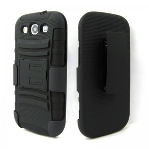 BLACK RUGGED HEAVY DUTY CASE with belt clip for Samsung Galaxy S 3 III i9300 cellphone new