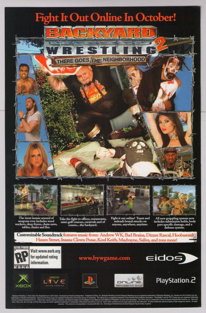 - Backyard Wrestling 2 Video Game PRINT AD Eidos Advertisement 2004