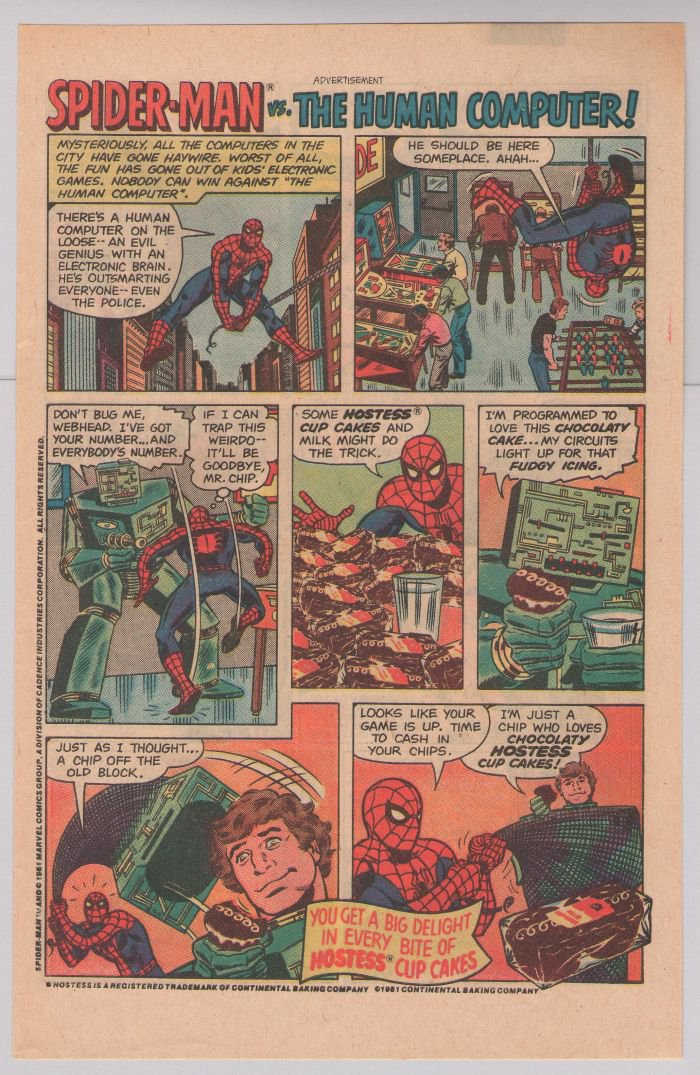 HOSTESS Cup Cakes PRINT AD Spider-Man vs Human Computer '80s vintage advertisement 1981