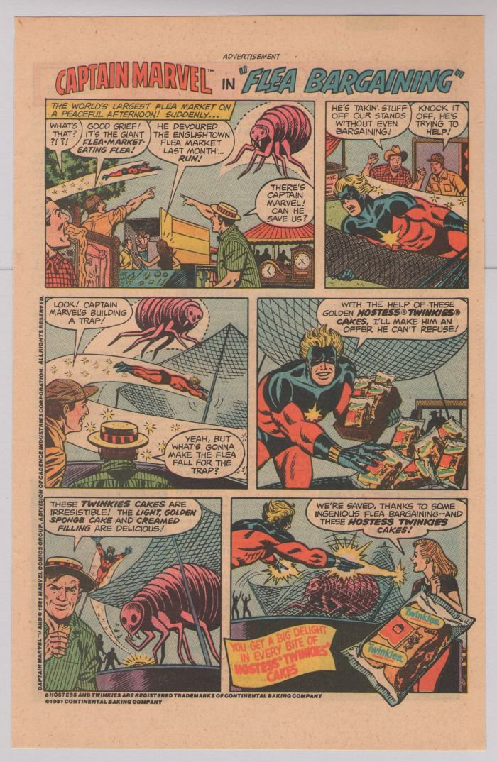 HOSTESS Twinkies PRINT AD Captain Marvel in Flea Bargaining '80s vintage advertisement 1981