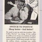Postum Mr. Coffee Nerves PRINT AD no caffeine '50s vintage advertisement General Foods 1953