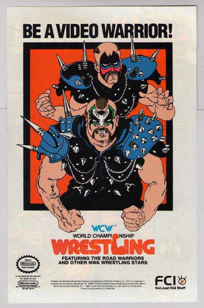 WCW Wrestling Road Warriors video game PRINT AD Nintendo NWA '80s advertisement 1989