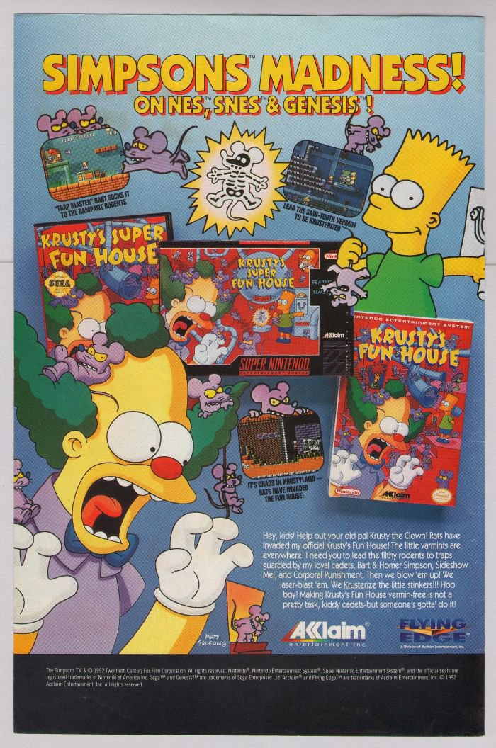 Krusty's Fun House PRINT AD Simpsons video game '90s advertisement NES SNES 1992