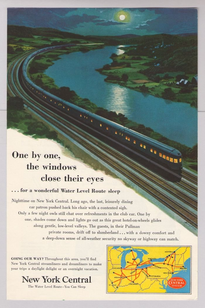 New York Central train '50s PRINT AD Water Level Route transportation vintage advertisement 1953