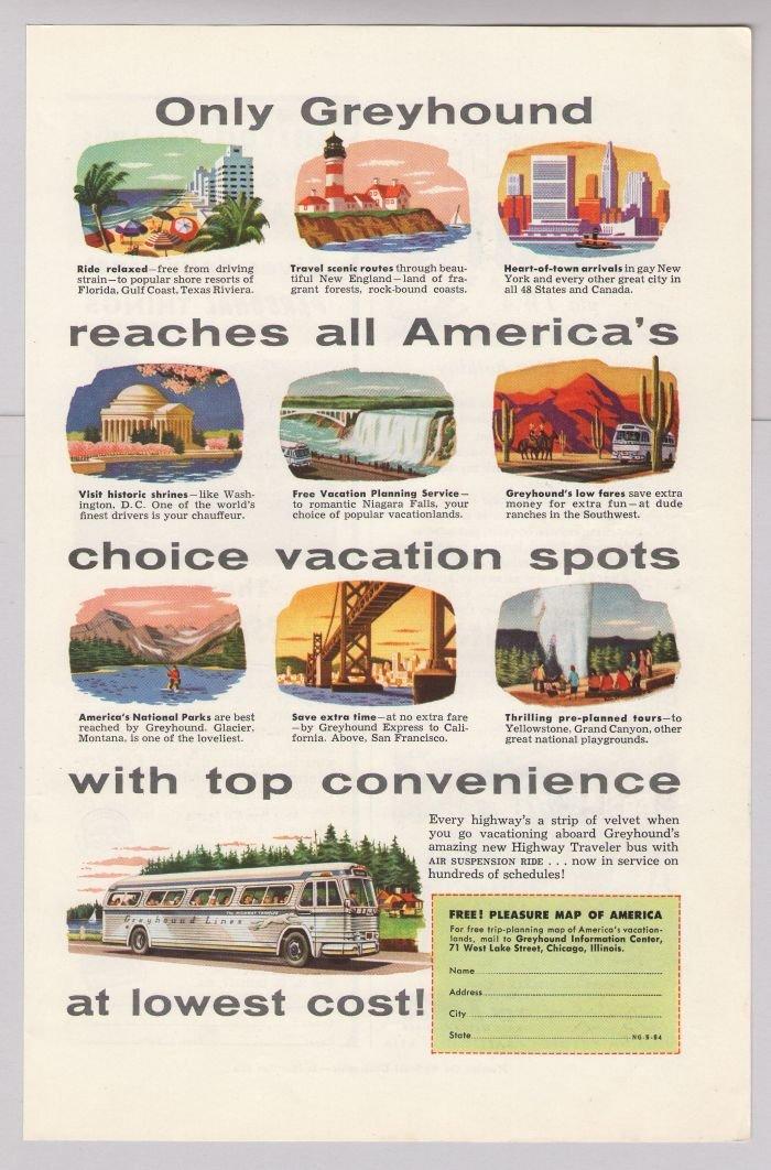 Greyhound '50s PRINT AD transportation bus travel vintage advertisement 1953