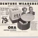 Ora Denture Cleanser '50s PRINT AD vintage advertisement 1953