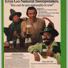 Natural Light Beer PRINT AD Norm Crosby leprechauns vintage advertisement 1980