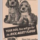 Hunt Club Dog Food '40s PRINT AD puppy vintage advertisement 1944
