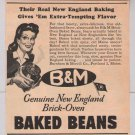 B&M Baked Beans '40s PRINT AD New England vintage advertisement 1944
