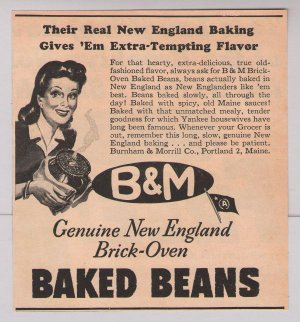 B Amp M Baked Beans 40s Print Ad New England Vintage