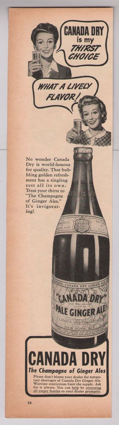 Canada Dry ginger ale '40s PRINT AD soft drink vintage advertisement 1944