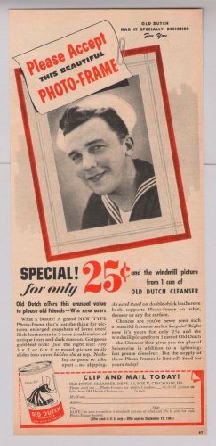 Old Dutch cleanser '40s PRINT AD Navy sailor vintage advertisement 1944
