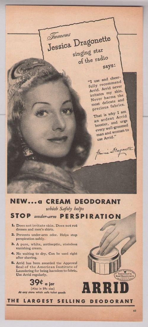 Arrid deodorant Jessica Dragonette '40s PRINT AD singer radio star vintage advertisement 1944