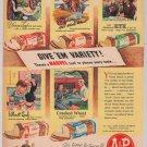 Marvel bread '40s PRINT AD vintage advertisement A&P 1944