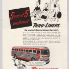 Trailways PRINT AD Thru-Liners travel bus '50s 2-color vintage advertisement 1953