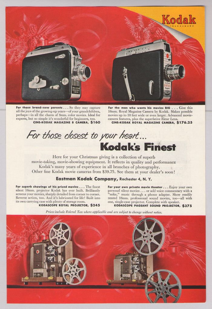 Kodak 8mm camera projector Christmas Cine-Kodak Kodascope'50s print advertisement ad 1953