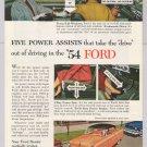 '54 Ford PRINT AD 2-door automobile car vintage advertisement '50s auto 1953