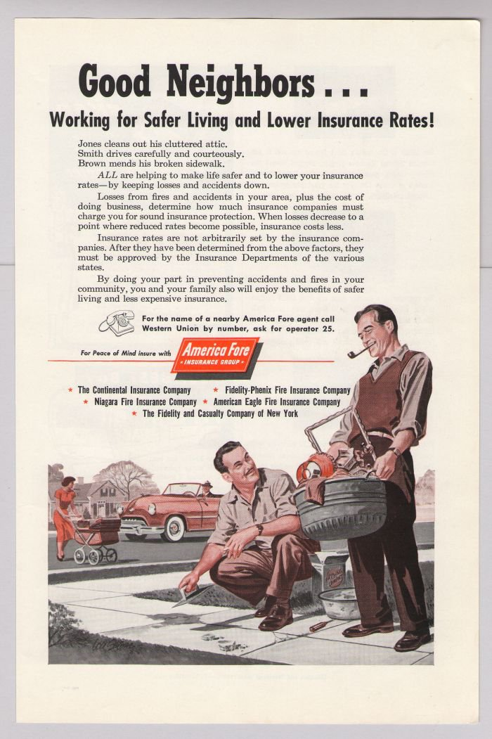 America Fore Insurance '50s PRINT AD illustrated dad smoking pipe vintage advertisement 1953