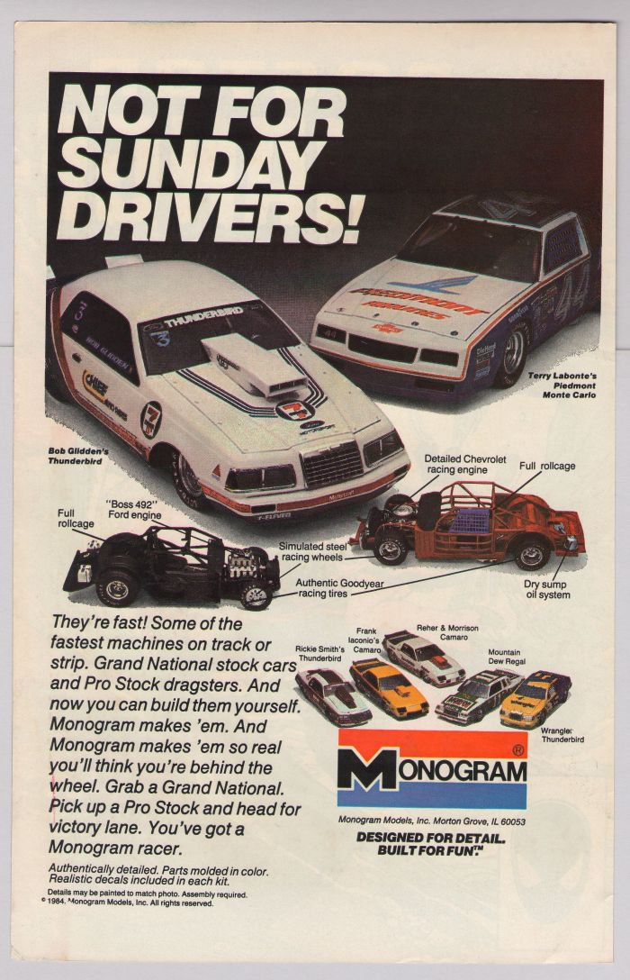 Monogram model kits '80s PRINT AD Bob Glidden, Terry Labonte stock cars vintage advertisement 1984