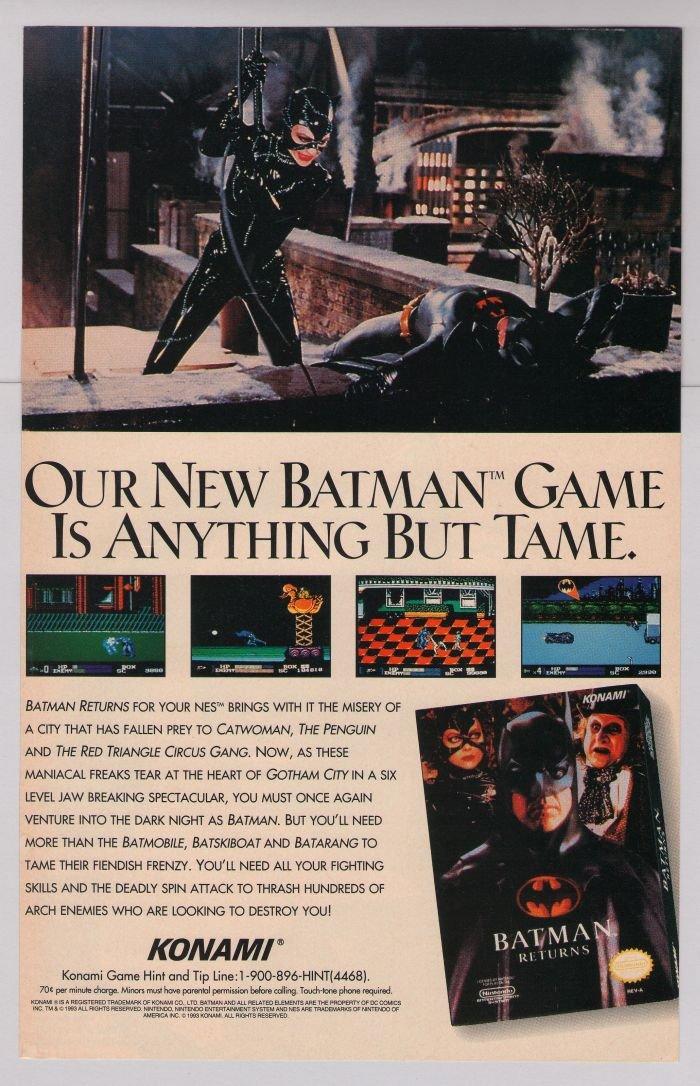 BATMAN RETURNS Catwoman Michelle Pfeiffer video game '90s PRINT AD Konami advertisement 1993
