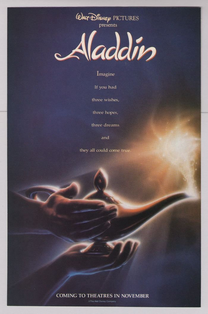 ALADDIN Disney movie '90s lamp PRINT AD advertisement mini-poster 1992