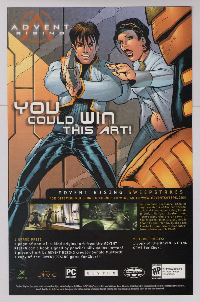ADVENT RISING video game PRINT AD comic art advertisement 2005