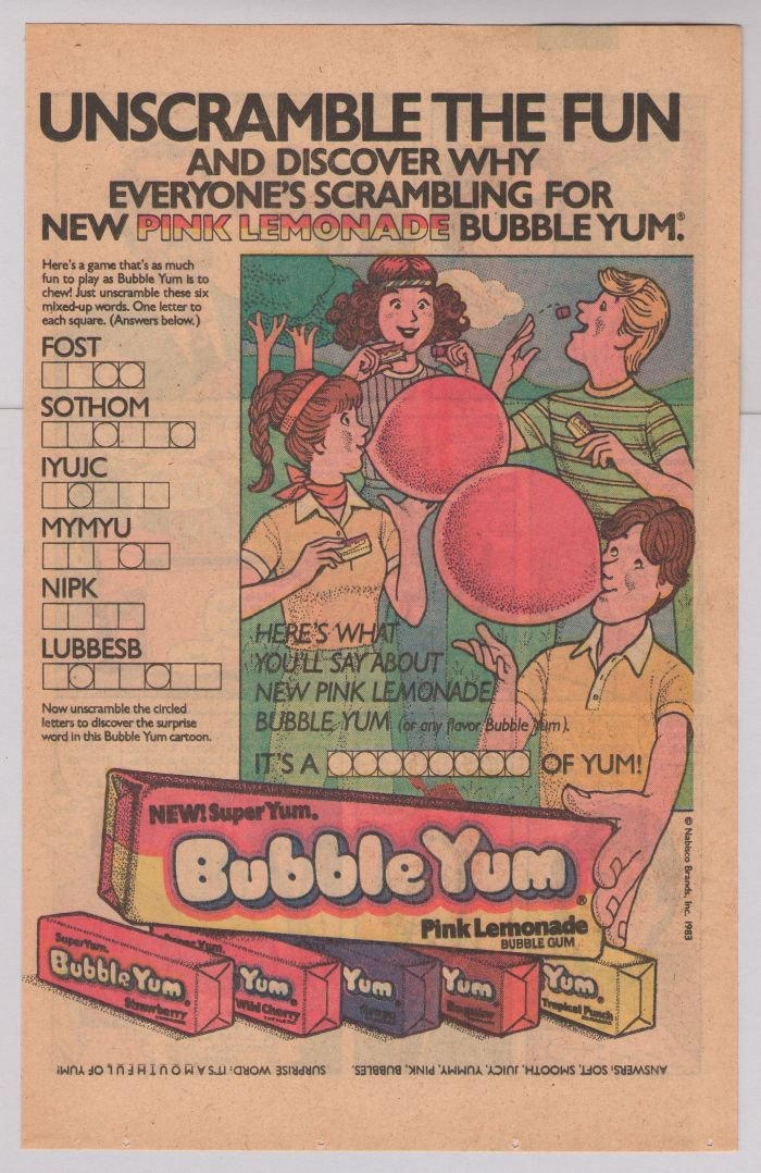 Bubble Yum Pink Lemonade gum '80s PRINT AD vintage advertisement word scramble 1983