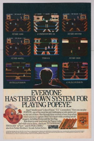 POPEYE video game '80s PRINT AD Parker Brothers vintage advertisement 1984