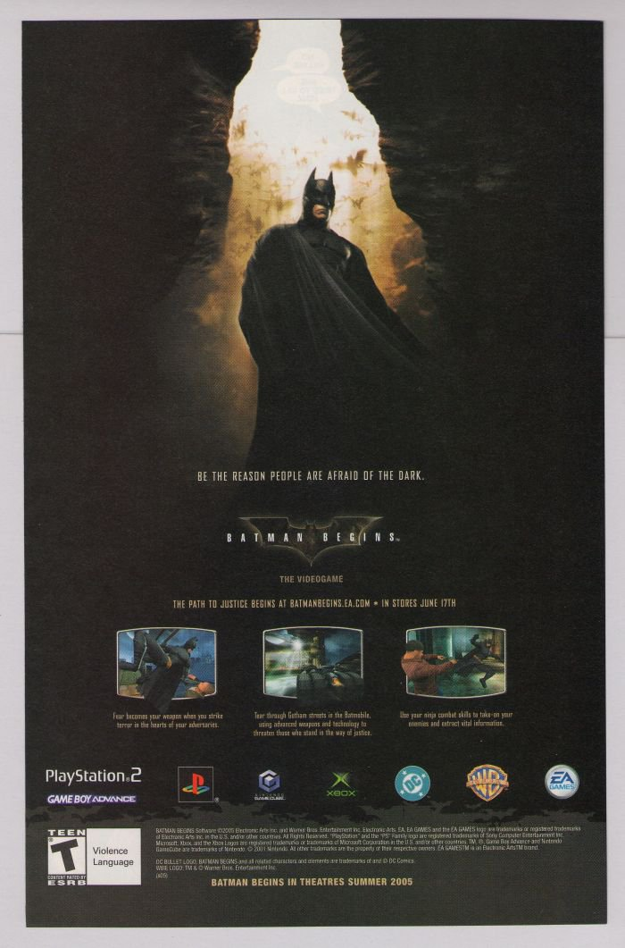 BATMAN BEGINS Christian Bale video game PRINT AD movie advertisement 2005