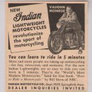 INDIAN motorcycles vintage '40s PRINT AD Vaughn Monroe advertisement 1949