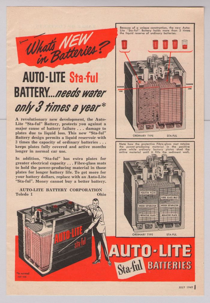 AUTO-LITE Sta-ful batteries '40s PRINT AD car battery vintage advertisement 1949