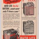 AUTO-LITE Sta-ful batteries '40s PRINT AD car battery vintage advertisement 1949