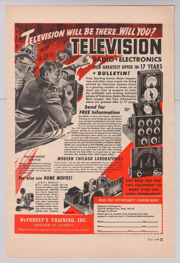DeForest's Training '40s PRINT AD television radio electronics