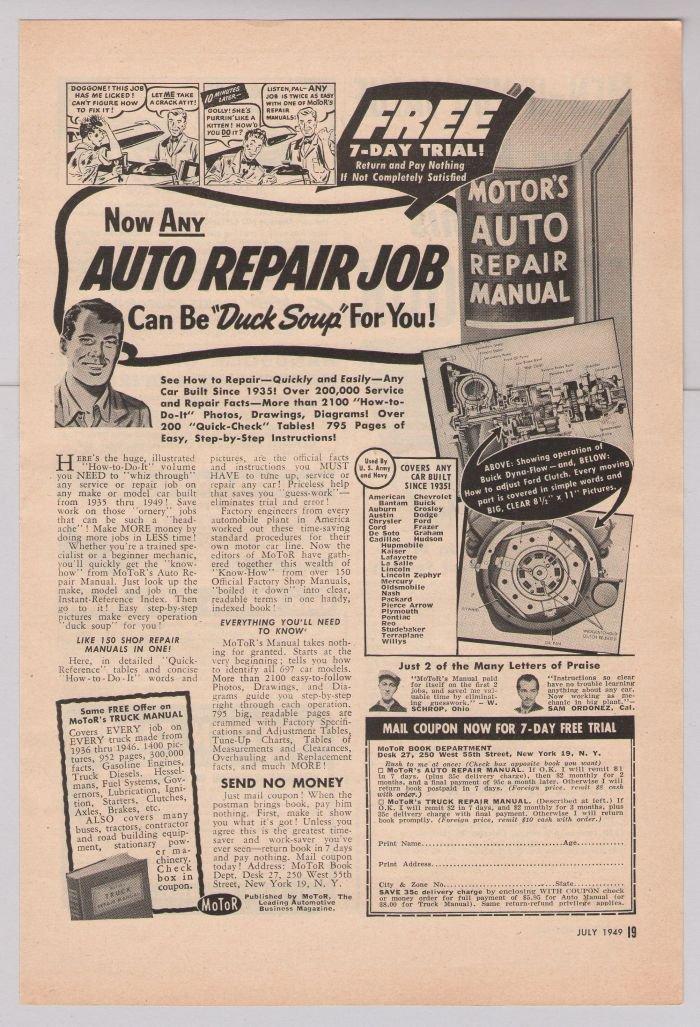 Motor's Auto Repair Manual '40s PRINT AD book offer vintage advertisement 1949