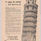 U.S. Savings Bonds '40s PRINT AD Leaning Tower of Pisa vintage ad 1949
