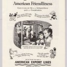American Export Lines '50s PRINT AD travel holiday children vintage cruise ship advertisement 1953