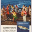 HAWAII Matson Lines '50s PRINT AD hula dancer cruise ship Lurline vintage advertisement 1953