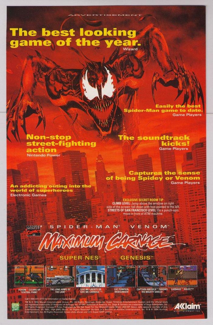 MAXIMUM CARNAGE video game '90s PRINT AD Spider-Man Venom ...