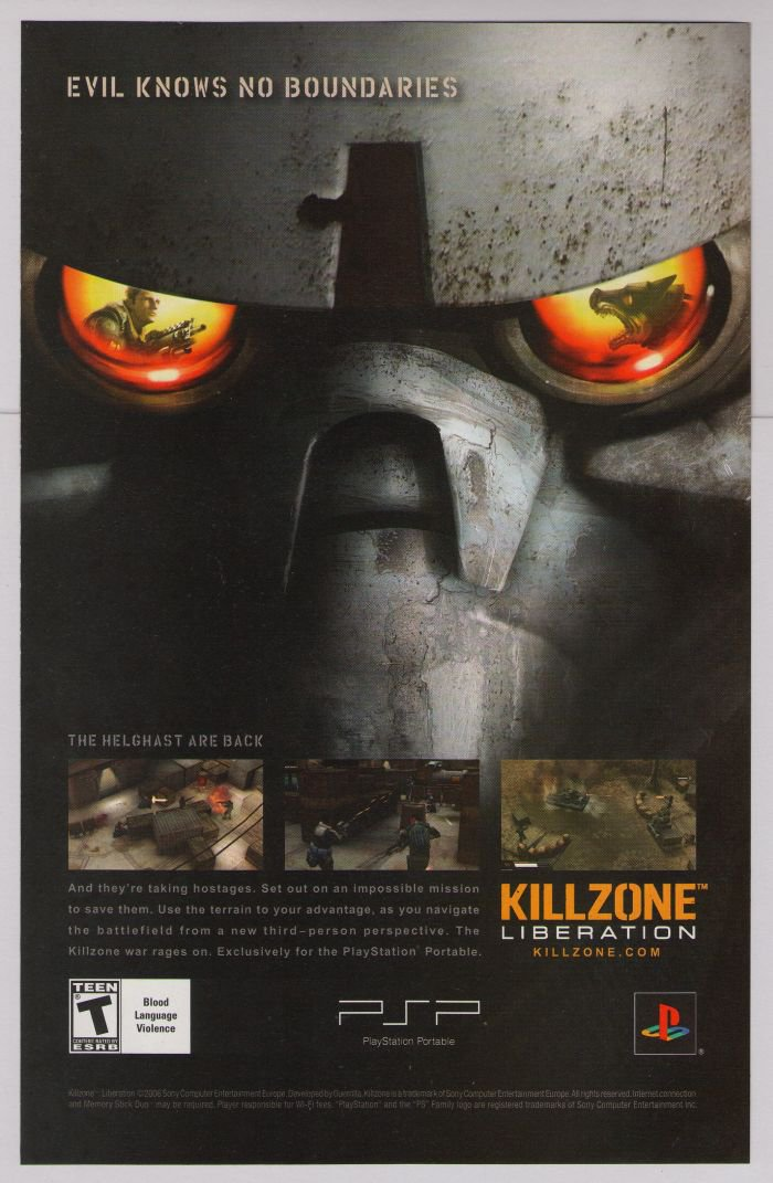 Killzone Liberation PRINT AD PlayStation video game advertisement 2006