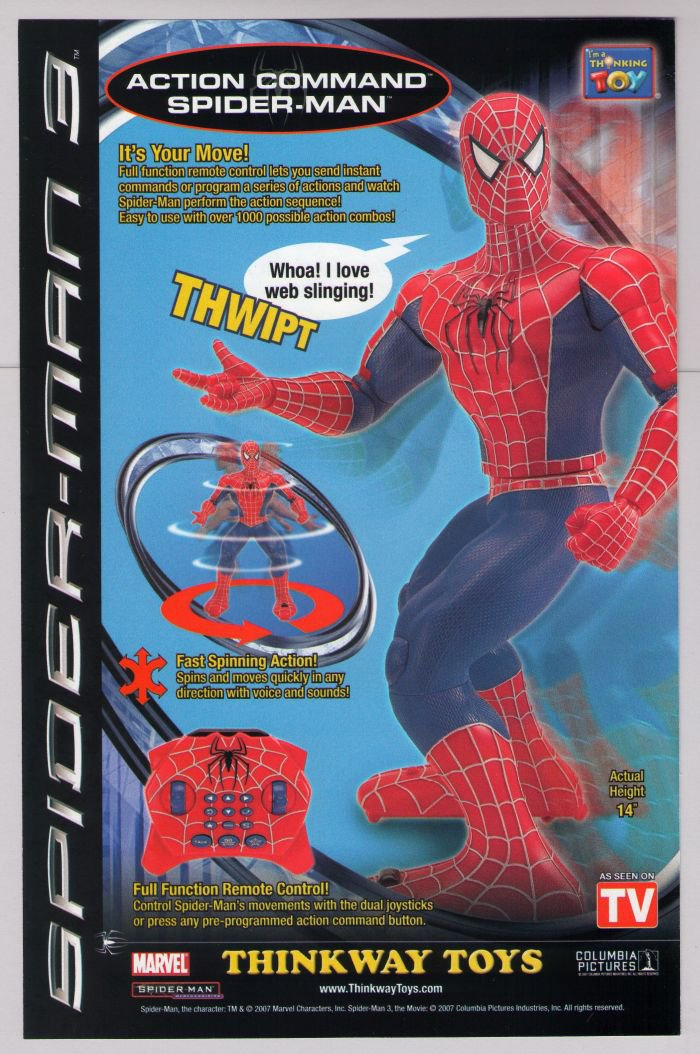 Action Command Spider-Man 3 PRINT AD Thinkway Toys Marvel Comics advertisement 2007