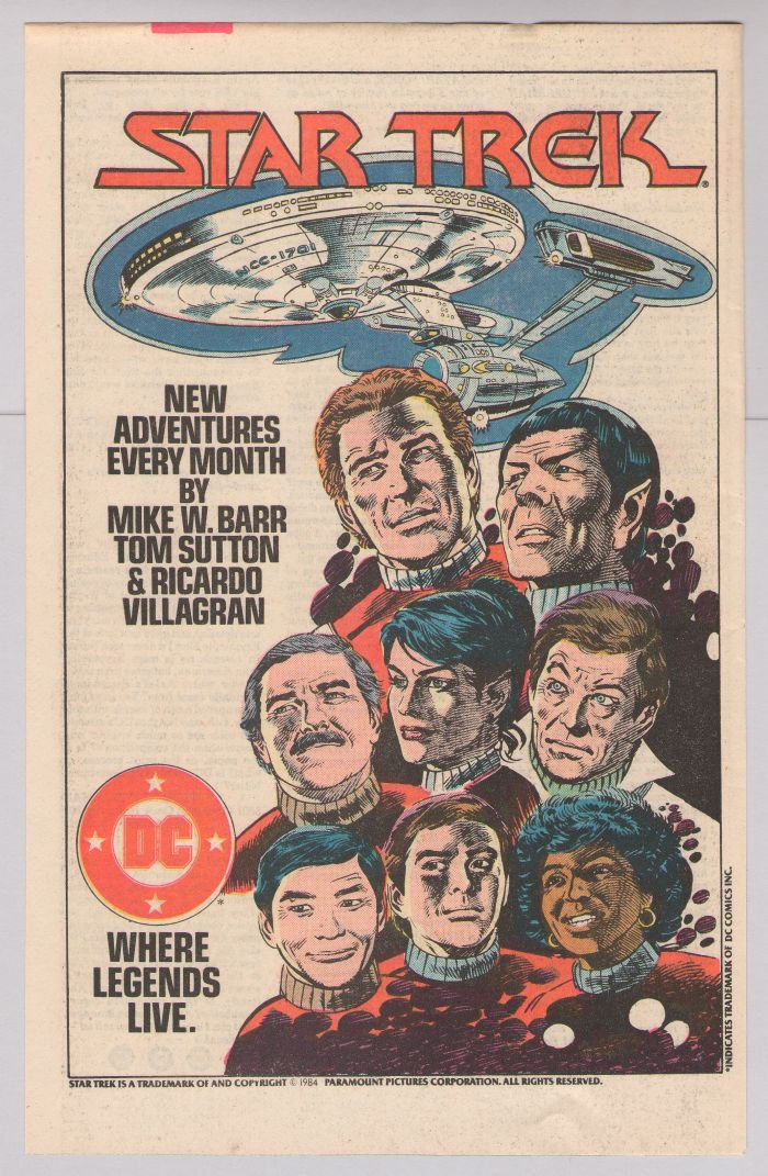 STAR TREK comic book Tom Sutton '80s PRINT AD DC Comics vintage advertisement 1984