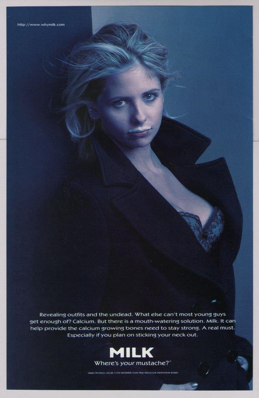 SARAH MICHELLE GELLAR got milk '90s PRINT AD Buffy the Vampire Slayer cleavage bustier 1998