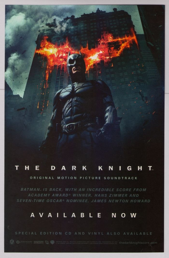 DARK KNIGHT Christian Bale Batman soundtrack PRINT AD advertisement 2008